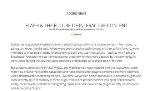 Adobeが2020年末までにFlashの開発とアップデートを終了することを公式アナウンス